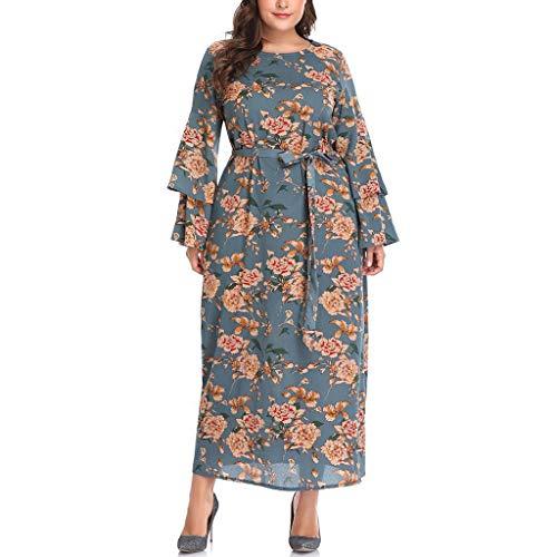 iYmitz Damen Übergröße Maxikleid Elegant V-Ausschnitt Kurzarm Kleider mit Blumen Pailletten Abend Party Netzkleid(X8-Gelb,EU-50/CN-3XL) -