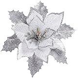 Sixcup  künstlichen Weihnachtsbaum, Blumen, Kränze Weihnachtsstern Künstlich Christstern Weihnachtsblumen Weihnachtsbaumdeko Weihnachtsbaum (Silber, 17CM)