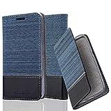 Cadorabo Hülle für LG Nexus 5 - Hülle in DUNKEL BLAU SCHWARZ – Handyhülle mit Standfunktion und Kartenfach im Stoff Design - Case Cover Schutzhülle Etui Tasche Book