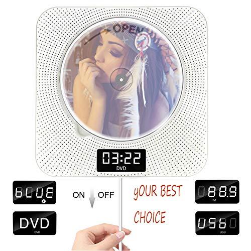 DVD-Player mit Bluetooth, Portable DVD Player Wand montierbar ziehen Schalter Doppellautsprecher mit Full-HD 1080p, Fernbedienung & FM Radio & Timer & USB & AV HDMI-Ausgang und LCD Display Weiße