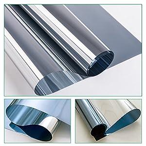RH Art Fenster Spiegelfolie Selbstklebend Sichtschutz Folie für Fenster Blickdichte Sonnenschutzfolie Wärmeisolierung – Silber, 44 x 200 cm