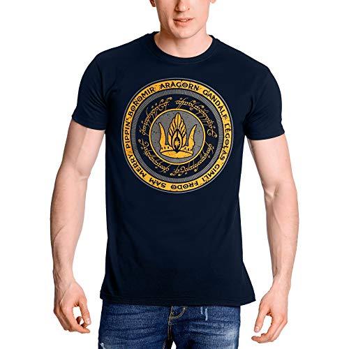 Elbenwald Señor de los Anillos Camiseta de los Hombres Juntos para Gondor algodón Azul 1