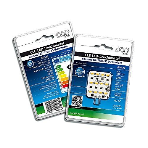 LED Ersatzleuchtmittel für Artemide Tizio 35/50 12V GY6.35 3000K 6Watt (35 Watt) -