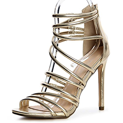 Edel High Heels (topschuhe24 1299 Damen Riemchen Sandaletten Pumps Party High Heels Metallic Bandage, Farbe:Gold;Größe:40)