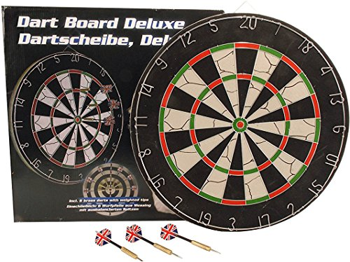 Mediablue Dartboard inkl. 6 Pfeilen für Kneipen/Bar Oder Pub Beidseitig besprielbare Dartscheibe Ø 45cm