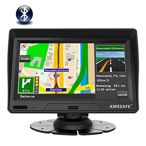 AWESAFE Navegador GPS para Coches y Camión 7 Pulgadas con Bluetooth de Pantalla LCD, con Actualizaciones de Mapas para Toda la Vida