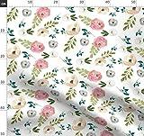Blumenmotiv, Pastell, Wasserfarben, Rosa, Boho Stoffe -