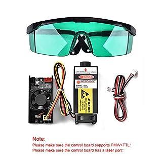 HUKOER 7W 450nm TTL-PWM-Steuerungs-Blaulaser-Modul, 12V fokal einstellbarer Brennerkopf, 100-240V Laserkopf-Graviermodul + Schutzbrille für DIY-Laser-Graveur-Maschine