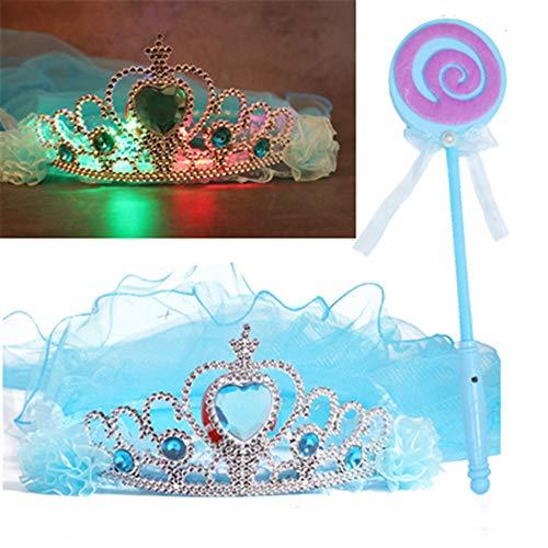 ermaske Frauen Prom Princess Girl Crown Veil Festliche Party Dress Up Makeup Maske Halbes Gesicht + Glow Veil + Glowing Lollipop + Princess Mask (3 Farben ()