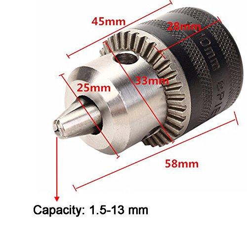 JTENG DIY Zahnkranzbohrfutter 1.5-13, 1/2 Zoll-20 Bohrfutter mit Schlüssel und SDS Plus Adapter - 6