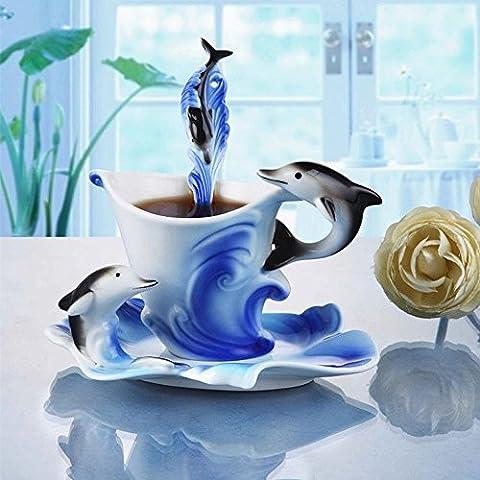 AJUNR-Home Office Water Cup Tasse Kaffee Dolphin Goldfisch Kaffee Tasse Der Kreativen Keramik Tassen Manuell