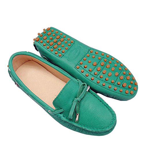 Minitoo tyb960–10da donna in pelle nubuck Slip-on scarpe casual barca Ballet Flats Loafer Moccasins Aquamarine