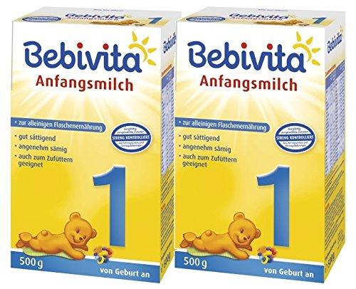 Bebivita 1 Anfangsmilch - von Geburt an, 2er Pack (2 x 500g)