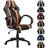 CLP Silla de oficina Vettel diseño gaming. Tapizado de cuero sintético y tela en red. Incluye mecanismo de balanceo. Altura del asiento regulable. negro/naranja