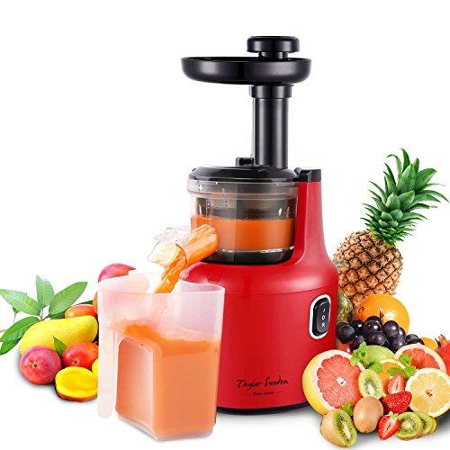 Masticating Juicer-maschine (Taylor Swoden Jazz -Masticating Entsafter Extractor, Langsam Entsafter Maschine, Leise 120W DC Motor, Kaltpresse Entsafter mit Saftkrug und Reinigungsbürste für hohe Ernährung Obst und Gemüse Saft, BPA frei, schwarz und rot.)