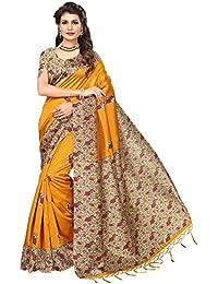 Mrinalika Fashion Women'S Art Silk Saree With Blouse Piece ( Yellow_Srja033_Free Size )