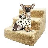 Hundetreppe Kunststoff Haustiertreppe mit Teppich Katzentreppe Katzenrampe 35x45x30cm Einstiegshilfe Plüschbezug