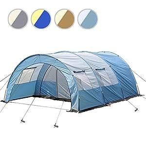 Tenda a tunnel, tenda per famiglie, tenda da campeggio, casa tenda per 4 persone, inclusa borsa per il trasporto e finestra in 4 diversi colori., Blau