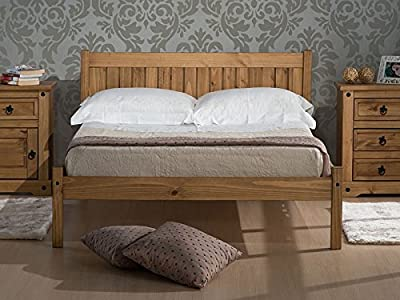 Antique Wax Solid Slatted Wood Birlea Rio Bed Frame 4FT Small 4FT6 Double - cheap UK light shop.