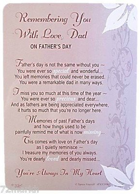Fathers Day Grave Cards Dad Memorial Cards Fathers Day- Remembered With Love Dad Test