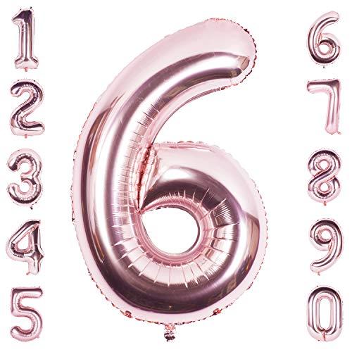 CHANGZHONG 40 Zoll Riese Helium Folie Nummer 0-9 Roségold Ballon Geburtstag Hochzeitsfeier Digitale Dekorationen Nummer 6