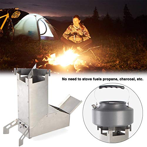 Estufa de Camping para Cohetes, Estufa portátil de Acero Inoxidable Estufa de...