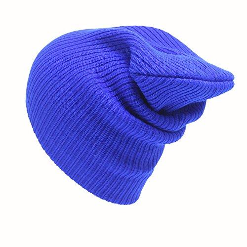 Männer und Frauen Stricken Slouch Winter Beanie Turban Kopf Wickeln Mütze Unisex Baggy Gehäkelt Pile Knit Cap Mütze Weicher Häkeln Hut Wollmütze (Blau)