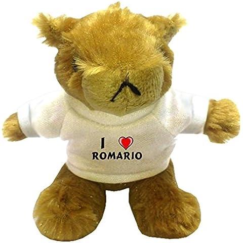 Marmota de peluche (llavero) con Amo Romario en la camiseta (nombre de pila/apellido/apodo)