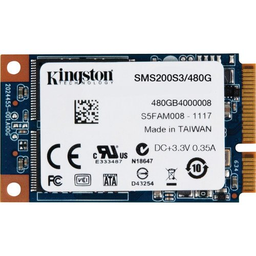Kingston SSDNow mS200 Unità a Stato Solido Interno, 480 GB, 2.5 Pollici, mSATA 3, Nero