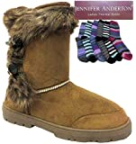 Ladies Fur Lined Winter Toggle Button Ankle Boots & Thick Thermal Stripey Socks