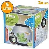 Vasca ampolla per pesci in vetro da 5 lt con 2 luci a led e accessori decorativi
