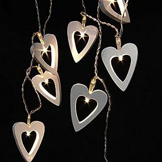 Allbusky Holz 10 LEDs nett Herzformen Licht festliche Lichter romantische LED-String für Halloween Weihnachten Geburtstag, Hochzeit, Party-Dekorationen batteriebetriebene Warmweiß (Heart)