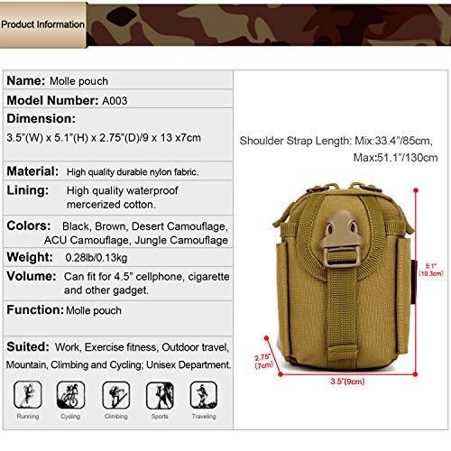 Huntvp Marsupio Uomo Sportivo, Borsetta Militare da Zaino per Campeggio Escursionismo Ciclismo Viaggio Trekking Porta Smartphone Chiave Denaro nero