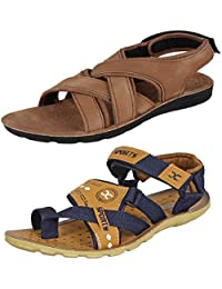 7d04d6cce974 Bersache Men s Casual Daily Wear Combo Pack of 2 Canvas Multi-Color Sandal    Floater