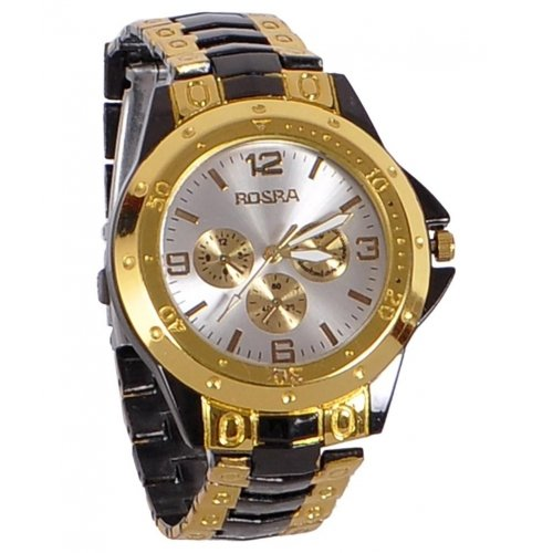 MaanFab Attractive chronograph Analogue Golden Black Watch For Man  available at amazon for Rs.169
