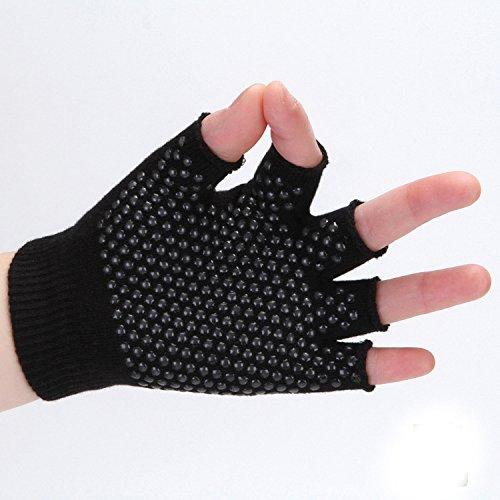 Swallowuk Damen Herren Unisex Yoga fingerlose Handschuhe Baumwolle rutschfeste Halbfingerhandschuhe (schwarz)
