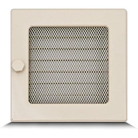 17x17cm Rejilla de lamas Aire rejilla ventilación Chimenea regulable - acero inoxidable - CREMA