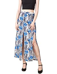 TEXCO Red Floral Printed Front Slit Skirt
