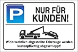 INDIGOS UG - Parkplatzschild - NUR FÜR KUNDEN! - Alu-Dibond 300x200 mm - Warnung - Sicherheit - Hotel, Firma, Haus