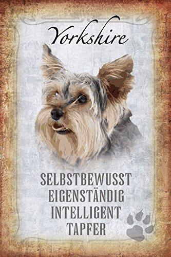 Comcard cani steckbrief: yorkshire terrier–consapevole, eigenstaendig, intelligent, tapfer scudo in latta, metal sign, tin