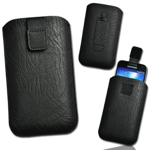 Handy Tasche Kunstleder schwarz circle3 Gr.5 mit Auszugband für Samsung Galaxy Note N7000 / Galaxy Note 2 N7100 / Galaxy Grand i9080 / Galaxy Grand Duos / LG Optimus G Pro E985 / Mobistel Cynus T2