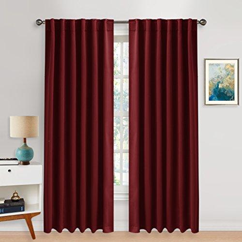 Blickdichte Vorhänge Isolierte Vorhänge - PONYDANCE Blickdichte Vorhänge mit Stangendurchzug für Wohnzimmer, Energiespar & Wärmeisolierend, H 213 cm x B 132 cm, Rot