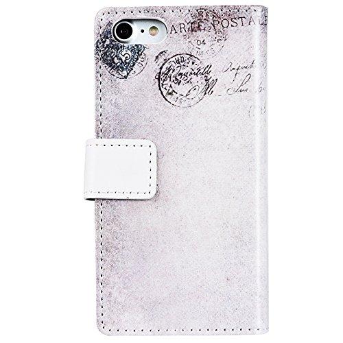 iPhone 7 Hülle, Yokata Flip PU Leder Case Backcover Cover Bookstyle mit Standfunktion und Magnetverschluß Tasche Schutzhülle + 1x Kapazitive Feder Katze 3