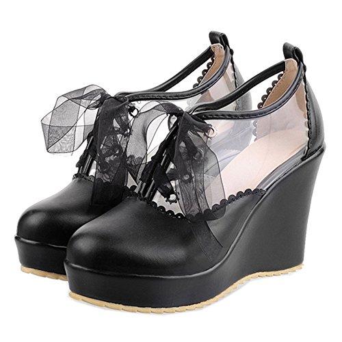 Coolcept Femmes Chaussures Doux Wedge Lacé Lacets Été Filles Noir
