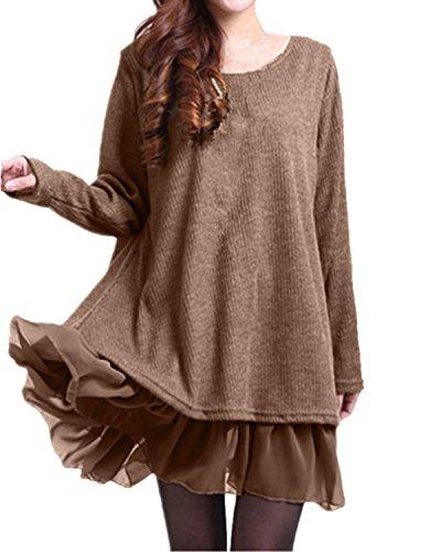 ZANZEA Mujer Vestido Elegante Algodón Corto Casual Gasa Lazo Cuello Redondo Mangas Largas Caqui EU 38