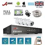 4CH Security Camera 1080p with 4 2MP CCTV Surveillance Cameras, 4CH POE CCTV