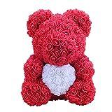 Amosfun Peluche Orsacchiotto Amore Cuore Rose Teddy Bear Fiore San Valentino Anniversario Compleanno Regalo Nozze 40cm