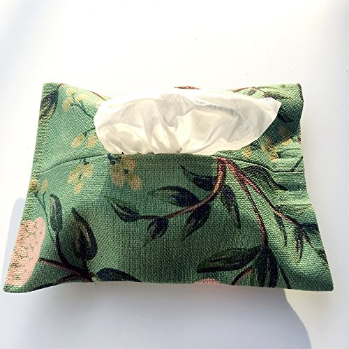 Tissus Boxsmall moderne minimaliste Chiffon de coton propre et vert et blanc fleur plantes Home Voiture Paper Box