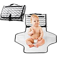 Baby Changing Mat, eJiasu Baby Nappy Changing Mat Folding Travel Changing Mat Portable Changing Bag Waterproof Changing Station Lightweight Cute Change Bag Kit for Baby Diapering with Zippered Pocket (White)