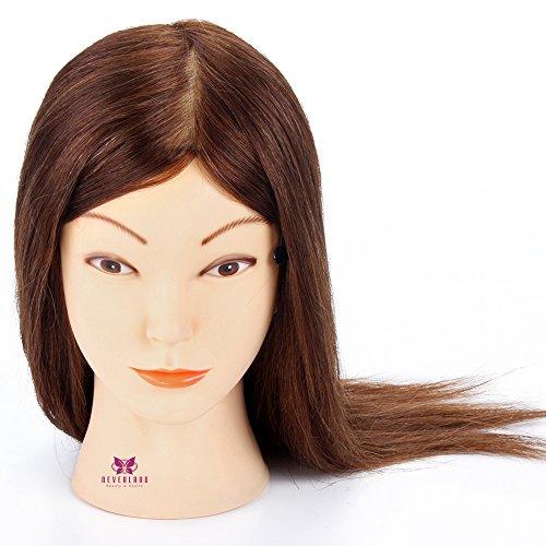 Neverland 16 Pouce Professionnel Tête à Coiffer 100 Cheveux Humains Cosmétologie Mannequin Tête 40cm Marron